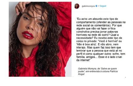 Gabriela Moreyra, que estará em 'Salve-se quem puder', falou com exclusividade ao site Reprodução/Instagram