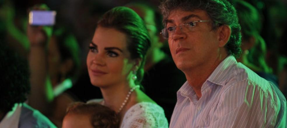 Eex-primeira dama Pâmela Bório e governador da Paraíba, Ricardo Coutinho (Foto: Kleide Teixeira/Arquivo/Jornal da Paraíba)