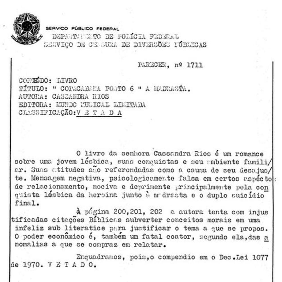 Parecer de censor veta livro de Cassandra, 'Copacabana Posto 6' — Foto: Reprodução (via BBC)