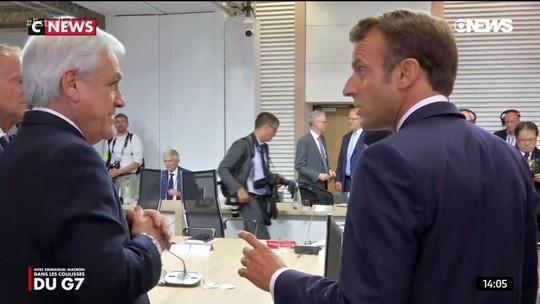 VÍDEO: Macron criticou Bolsonaro em almoço de líderes durante o G7, no mês passado