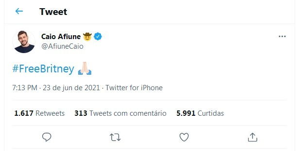 Caio Afiune apoia Britney Spears (Foto: Reprodução/Twitter)