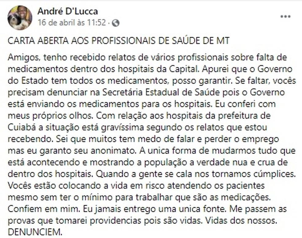 Ele postou uma mensagem aos profissionais da saúde — Foto: Facebook/Reprodução