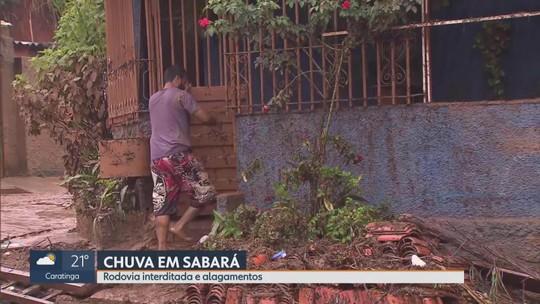Temporal deixa 20 famílias desalojadas em Sabará, na Região Metropolitana de Belo Horizonte