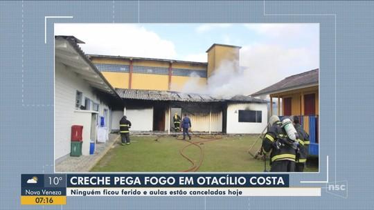 Creche de Otacílio Costa suspende aulas após incêndio