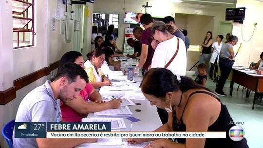 Vacina da febre amarela restrita para moradores em Itapecerica da Serra surpreende pessoas nas filas