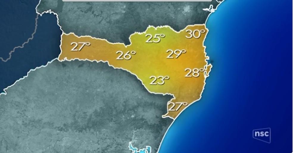 Previsão do tempo de sexta-feira (12) em Santa Catarina (Foto: Previsão do tempo/NSC TV)