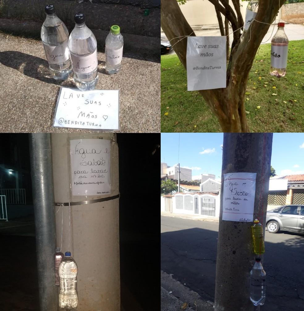 Inspirado em grupo de voluntários, moradores de Sorocaba instalam kits de higiene em bairros da cidade. — Foto: Redes Sociais/Bendita Turma