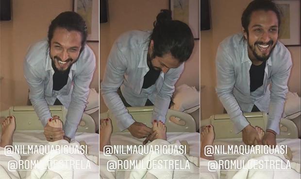 Mariana Bridi ganha massagem nos pés de Rômulo Estrela (Foto: Reprodução/ Instagram)