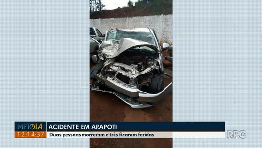 Duas pessoas morrem em acidente de carro em Arapoti