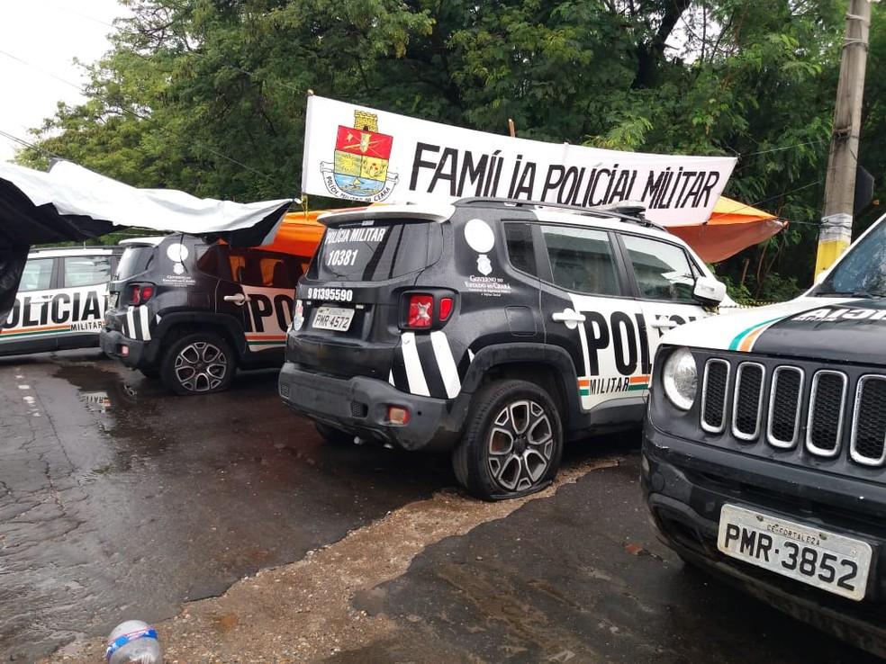 Batalhões seguem fechados durante paralisação da PM no Ceará.  — Foto: Wandemberg Belém/SVM