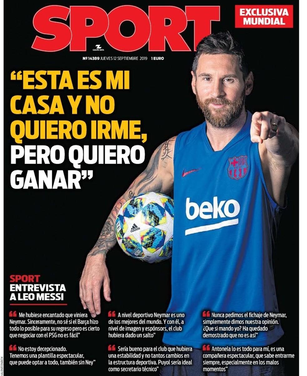 """Messi dá entrevista para jornal """"Sport"""" — Foto: Reprodução/Sport"""