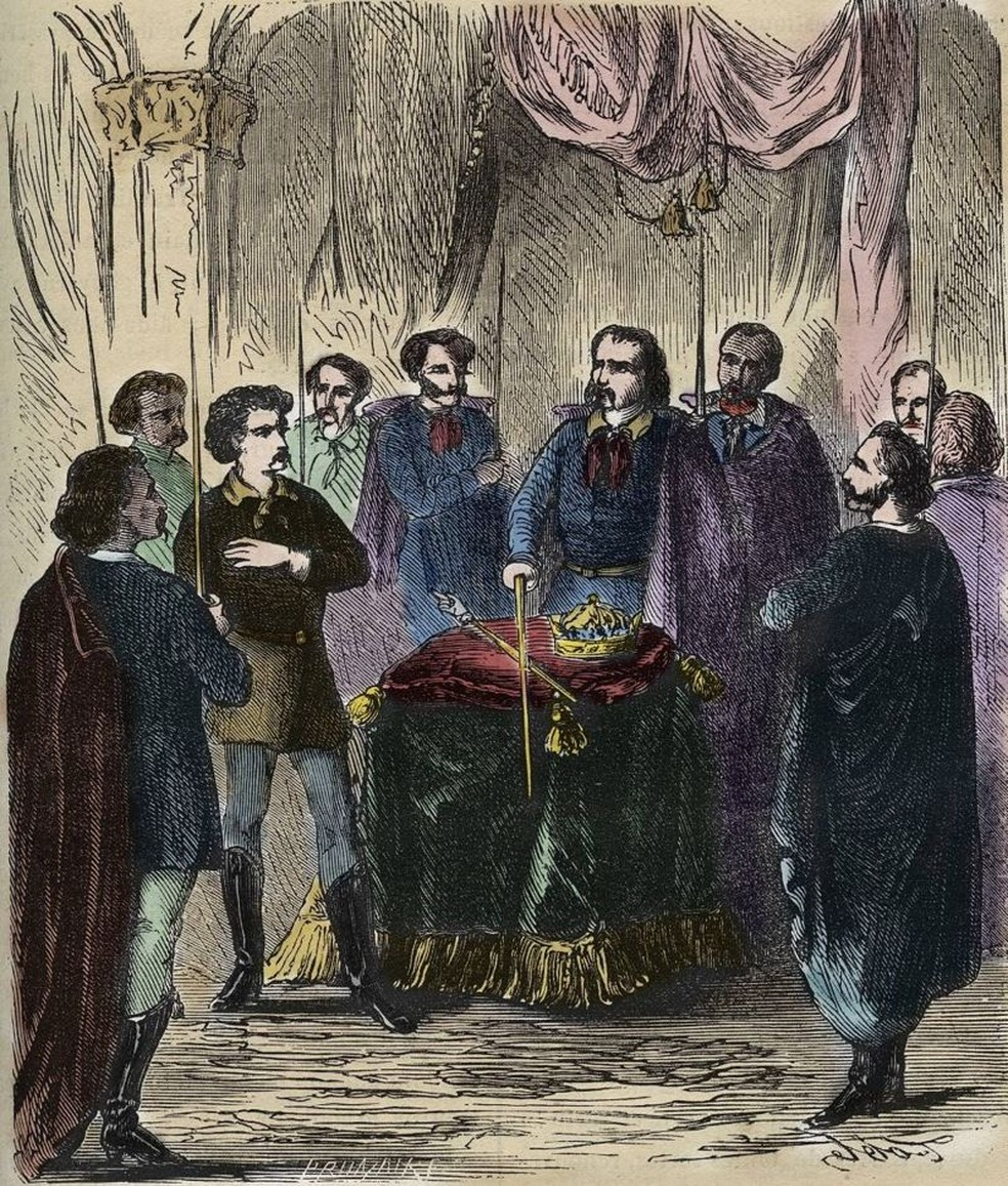 Representação do século 19 de um ritual de iniciação Illuminati. Na verdade, poucos detalhes sobre verdadeira natureza da cerimônia são conhecidos — Foto: Getty Images via BBC