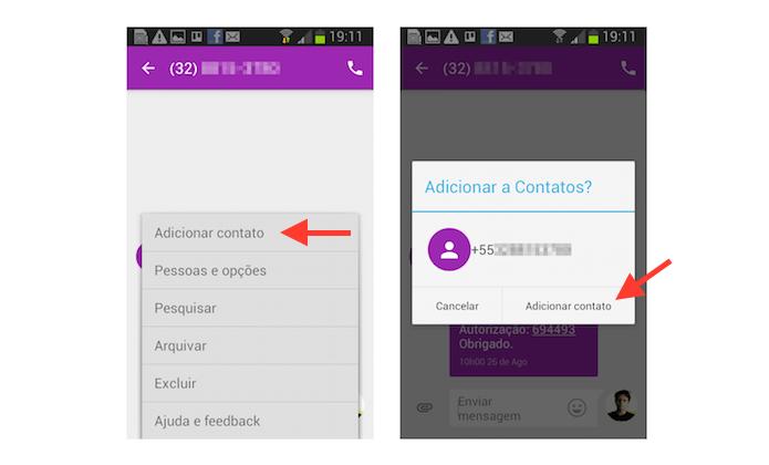 Iniciando o processo para salvar o número desconhecido na agenda do Android através do Google Messenger (Foto: Reprodução/Marvin Costa)