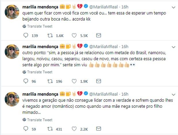 Publicações de Marília Mendonça (Foto: Reprodução/Twitter)