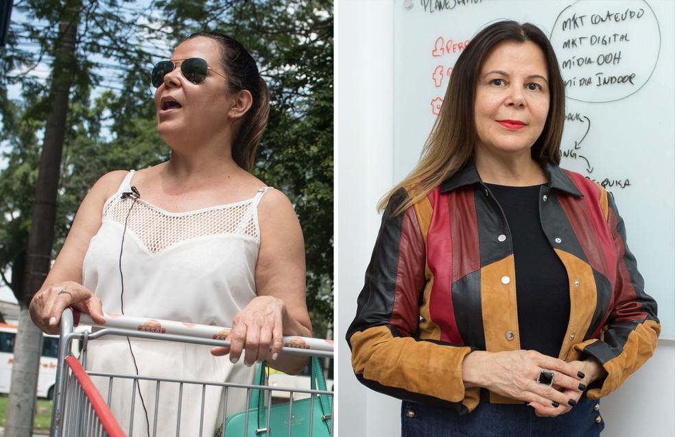 2016 e 2017: Na crise, a empresária Cláudia Barbosa passou a comprar no atacarejo em 2016 (à esquerda); um ano depois, seu negócio foi bem e ela recuperou hábitos de consumo antigos (à direita) — Foto: Flávio Moraes e Celso Tavares/G1