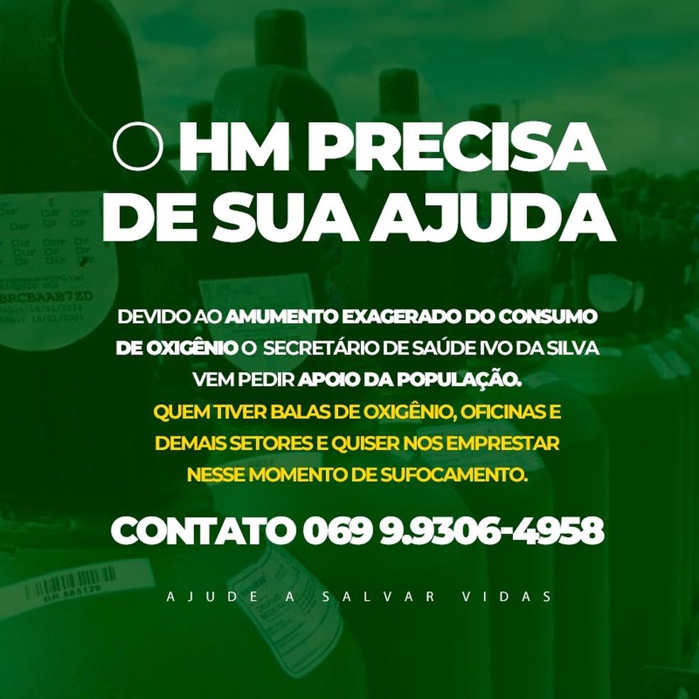 Ji-Paraná, RO, pede doações de cilindros de oxigênio — Foto: Reprodução