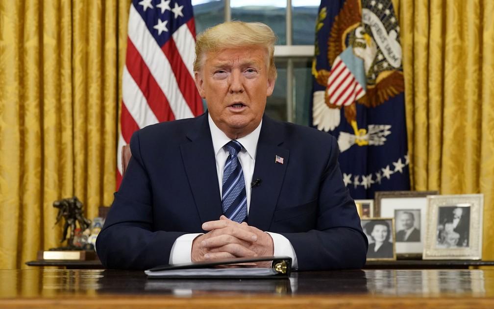 O presidente dos EUA, Donald Trump, durante pronunciamento sobre coronavírus, na quarta-feira (11) — Foto: Doug Mills/Pool via Reuters