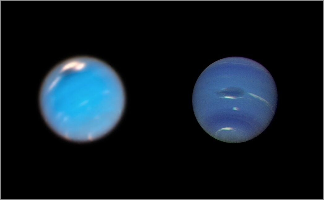 Imagem do Telescópio Espacial Hubble ( esquerda) e da aeronave Voyager 2 ( direita) (Foto: NASA/ESA/GSFC/JPL.)