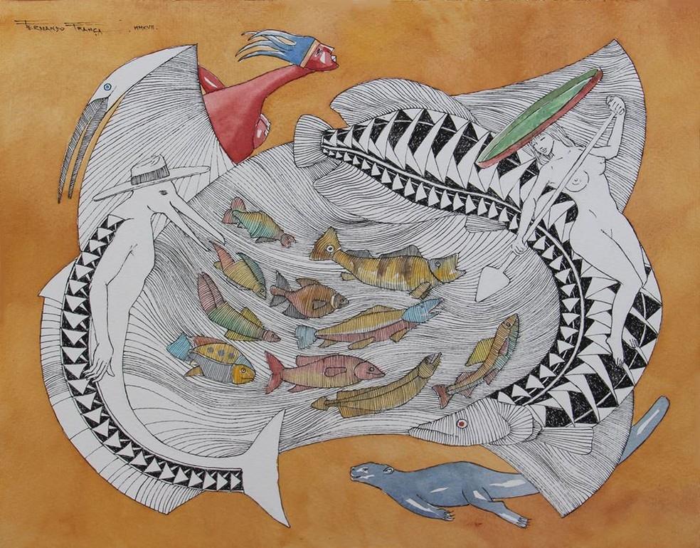 """""""Piracema"""" é uma das obras de Fernando França, que está presente na exposição na  exposição """"Encantes Amazônicos"""". (Foto: Divulgação)"""