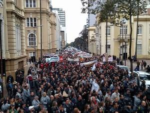 Protesto servidores segurança Porto Alegre (Foto: Abamf/Divulgação)