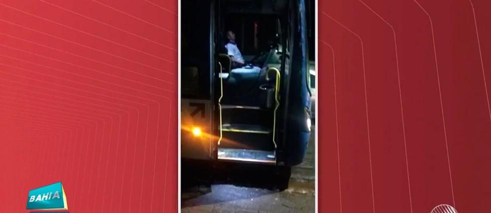 Motorista de ônibus foi baleado por policial militar na orla de Ondina, em Salvador (Foto: Reproduç]ao/TV Bahia)