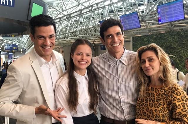 Mateus Solano, Agatha Moreira, Reynaldo Gianecchini e Amora Mautner nas gravações de 'A dona do pedaço' (Foto: Arquivo pessoal)