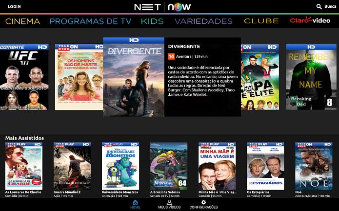 NET NOW é um app que reproduz conteúdo de vídeo no Android para cliente da NET (Foto: Divulgação/ Net Now)
