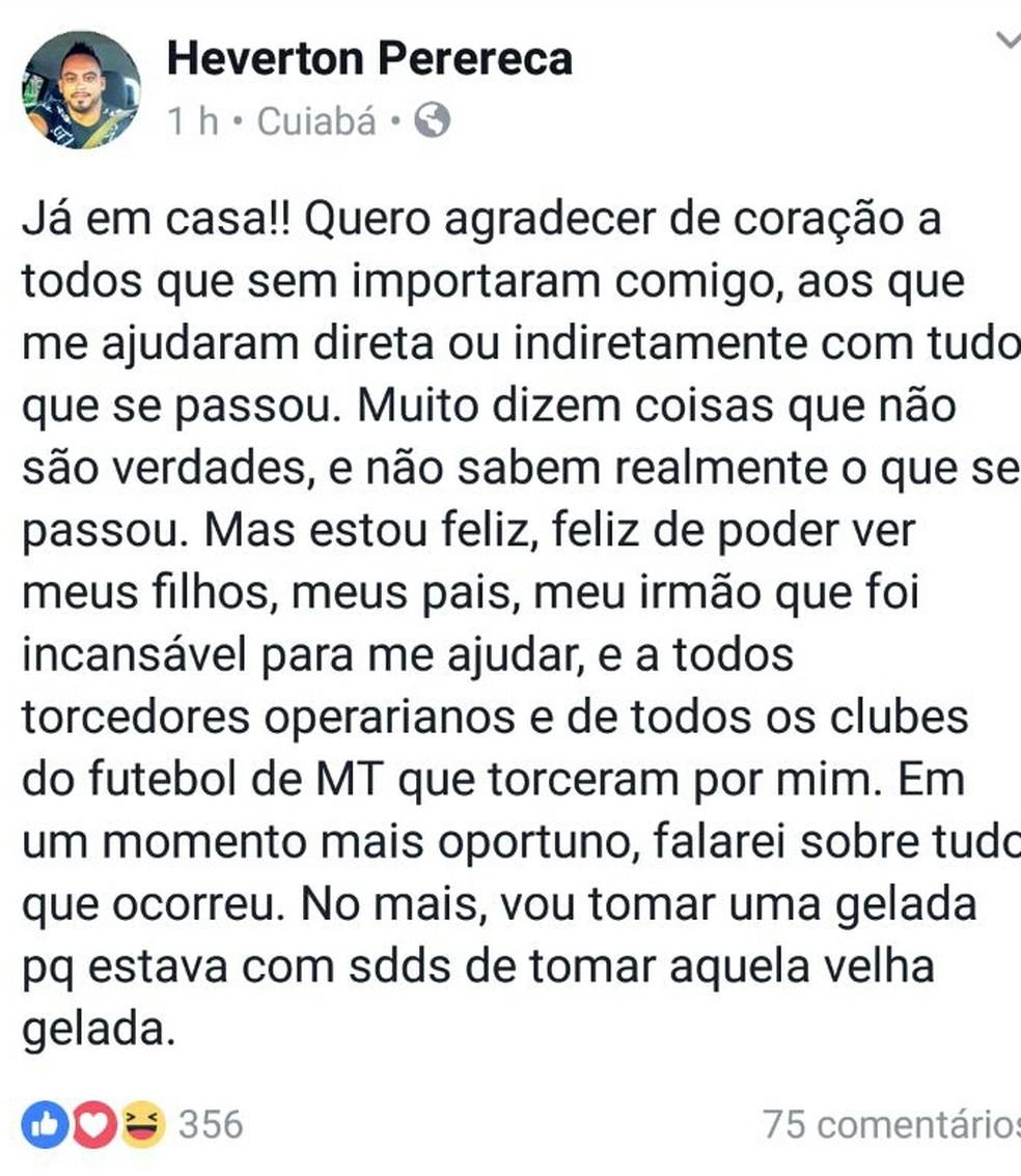 Goleiro Perereca posta saída da prisão nas redes sociais (Foto: Divulgação/Facebook)