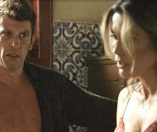 Milhem Cortaz e Flávia Alessandra em 'O Sétimo Guardião'   TV Globo