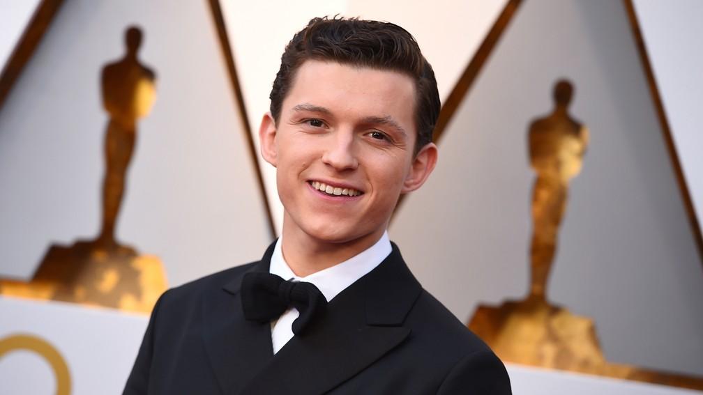 Tom Holland, que interpreta o novo Homem-Aranha, no tapete vermelho do Oscar 2018 (Foto: Jordan Strauss/Invision/AP)