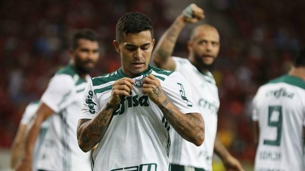 Dudu comemora gol contra o Flamengo — Foto: (Foto: LUCAS TAVARES/DIA ESPORTIVO/ESTADÃO CONTEÚDO)