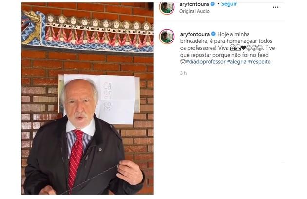Aos 87 anos, Ary Fontoura mostra situações do dia a dia e cria esquetes: 'É uma grande gozação comigo mesmo. É tudo criado para divertir e fazer com que estes tempos nefastos passem', diz que, que tem 1,8 milhões de seguidores no Instagram (Foto: Reprodução/Instagram)