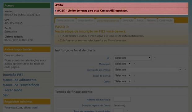 Erro no Fies mostra novos limites de atendimento dos pedidos de financiamento (Foto: Reprodução)