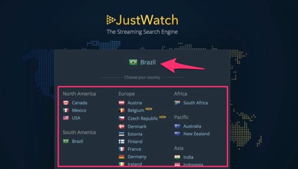 Ação para escolher um país para monitorar lançamentos em serviço de streaming pelo site JustWatch — Foto: Reprodução/Marvin Costa