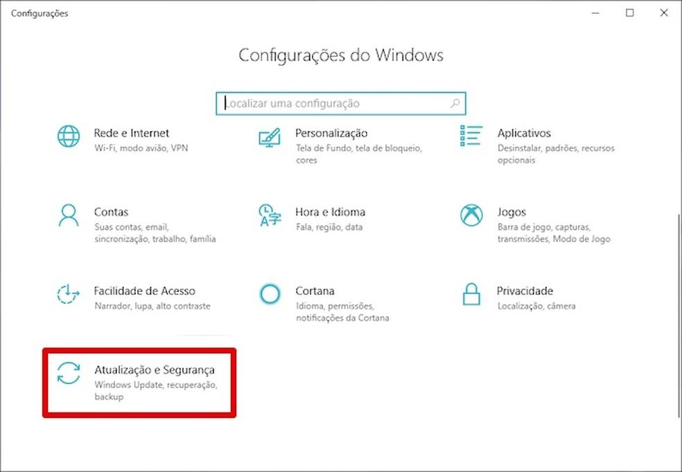 Abra o Windows Update — Foto: Reprodução/Helito Bijora