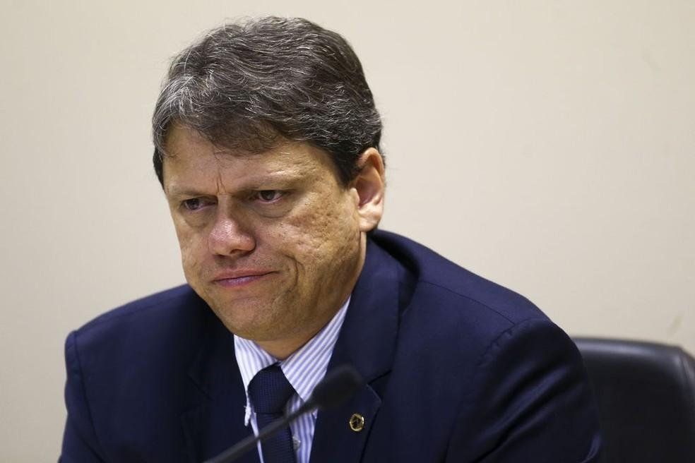 O ministro de Infraestrutura, Tarcísio Freitas  — Foto: Marcelo Camargo/Agência Brasil