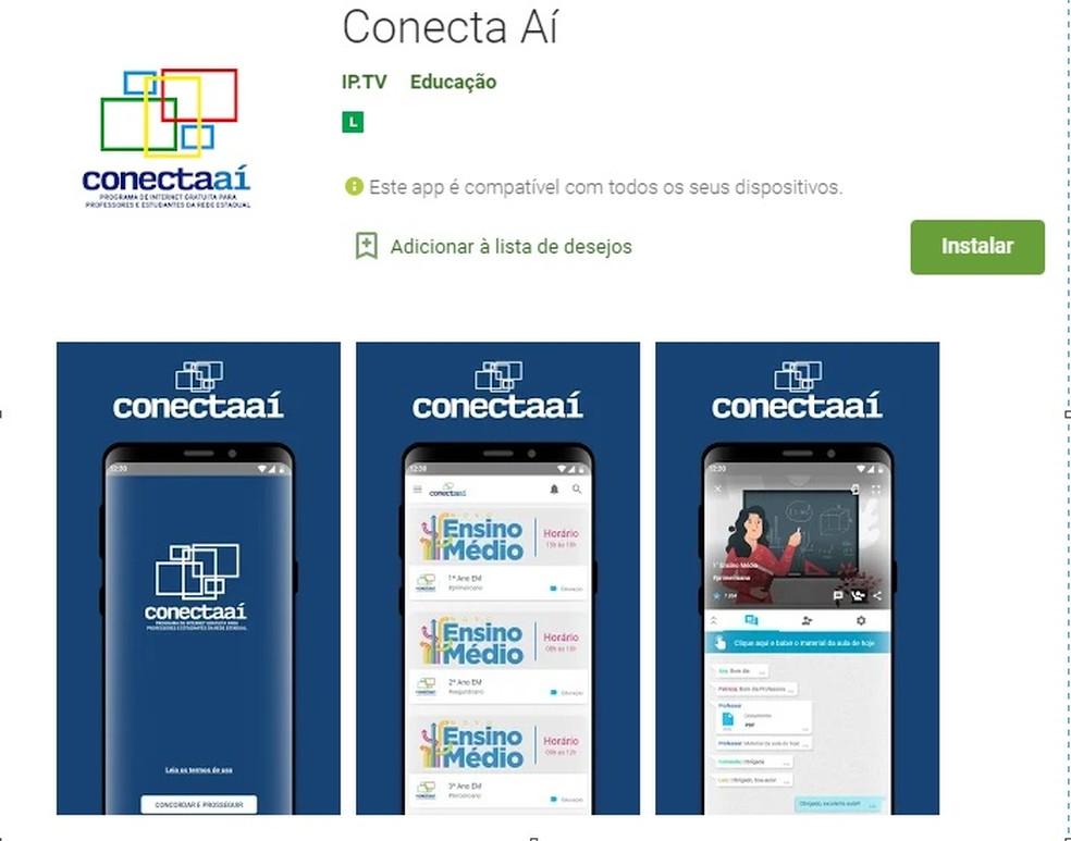 Conecta Aí já está disponível para ser baixado pelo celular, segundo a Secretaria de Educação de Pernambuco — Foto: Reprodução/Internet