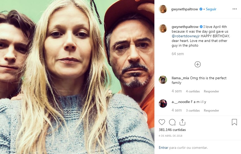 Tom Holland, Gwyneth Paltrow e Robert Downey Jr. (Foto: reprodução / Instagram)