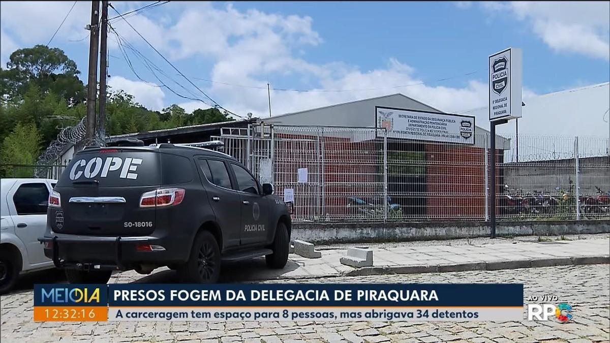 Quinze presos roubam armas e fogem da Delegacia de Piraquara, diz polícia - G1