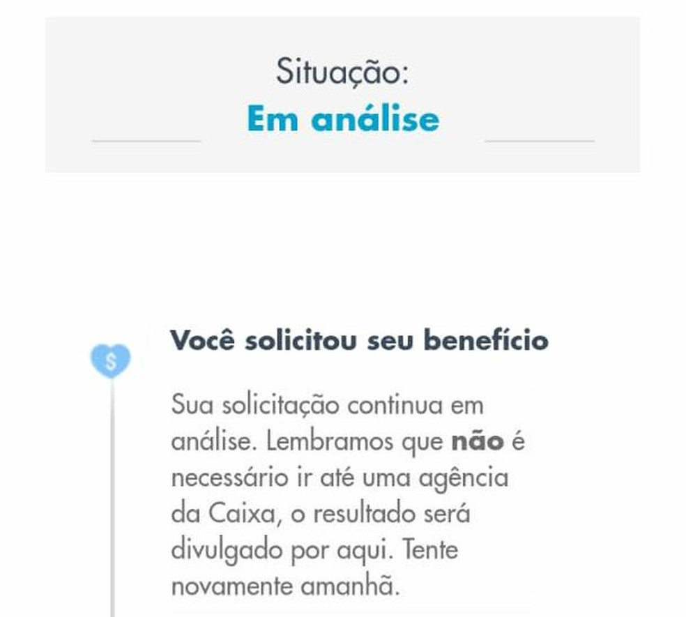 Mércia Cardoso compartilha imagem que informa auxílio emergencial em análise — Foto: Arquivo pessoal