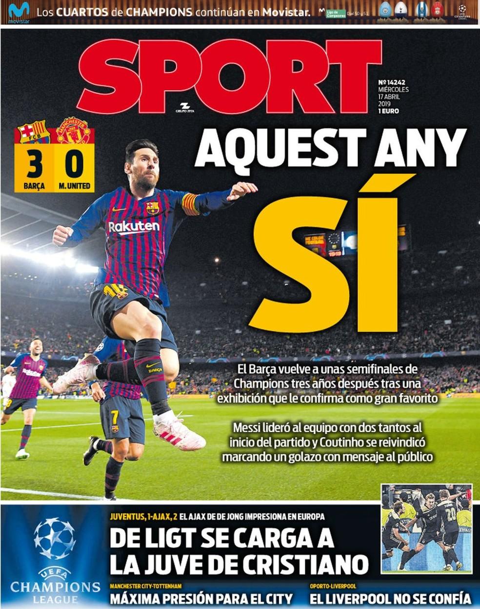 Manchete do Sport após Juventus x Ajax — Foto: Reprodução / Twitter