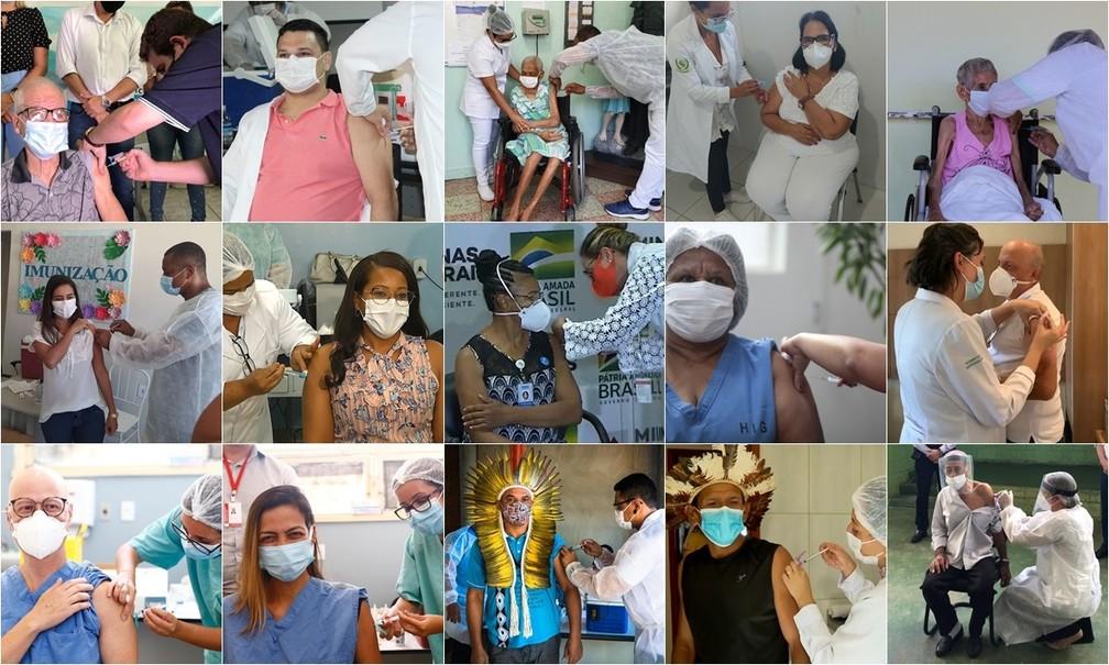 Fotos de pessoas que receberam as primeiras doses da vacina contra a Covid-19 em Minas Gerais, ainda em janeiro. — Foto: Arquivo G1
