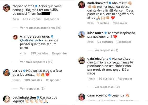 Comentários de famosos (Foto: Reprodução/Instagram)