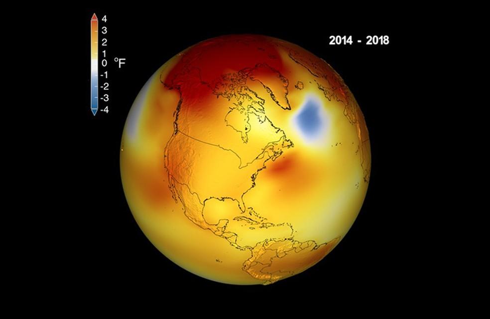 Terra está ficando mais quente: últimos cinco anos foram os mais quentes da história — Foto: Nasa