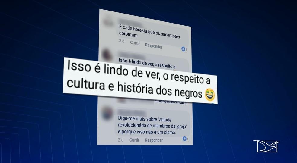 Internauta rebate insultos e diz que a missa dos quilombos era algo 'lindo de se ver' — Foto: Reprodução/TV Mirante