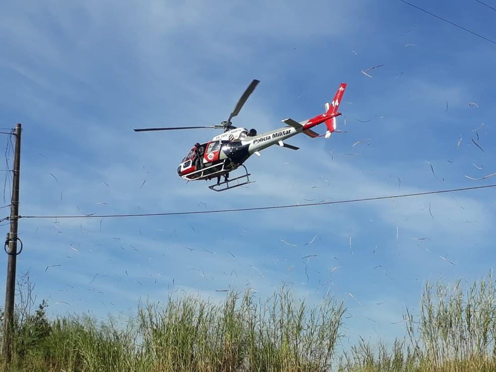 Helicóptero Águia durante o atendimento de uma ocorrência em junho de 2020 em Presidente Prudente — Foto: Polícia Militar