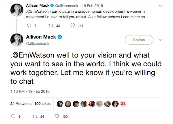 As outras mensagens enviadas por Allison Mack à atriz Emma Watson (Foto: Twitter)