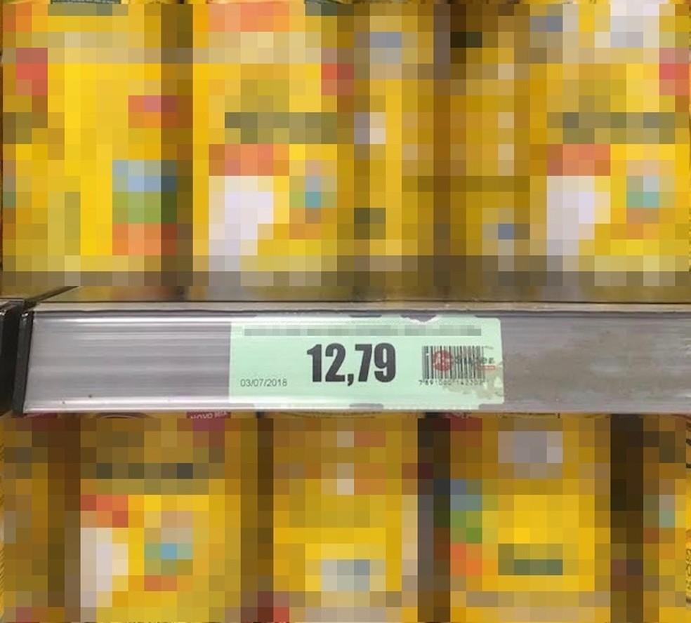 Preço do produto encontrado pelo app AondeConvem conferido na prateleira do mercado (Foto: Reprodução/Marvin Costa)