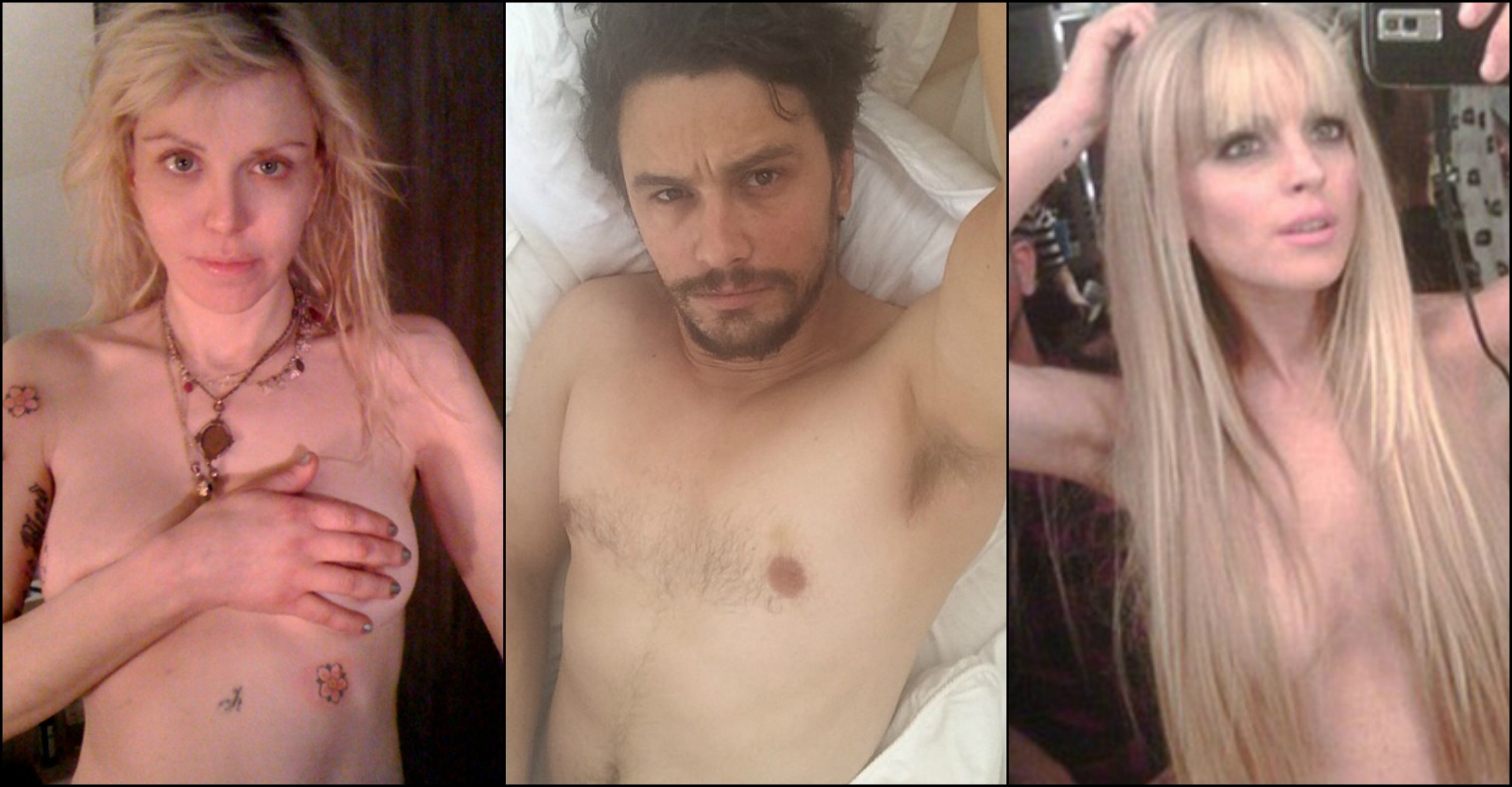 Courtney Love, James Franco e Lindsay Lohan dispensaram as roupas na hora de se clicarem. (Foto: Twitter e Instagram)