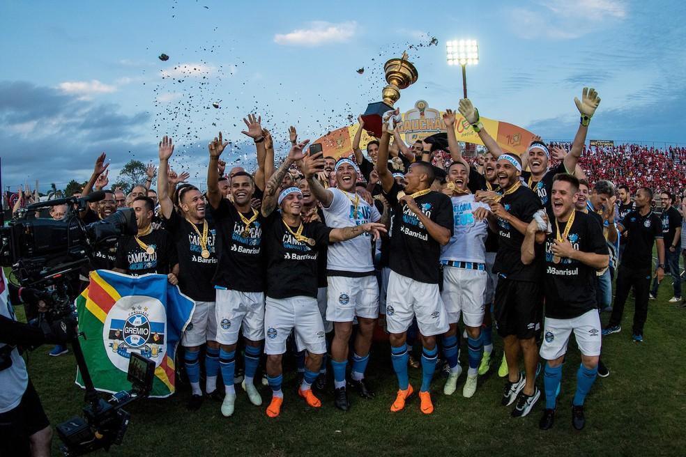 Grêmio voltou a conquistar o Gauchão após sete anos (Foto: Lucas Uebel / Grêmio, DVG)